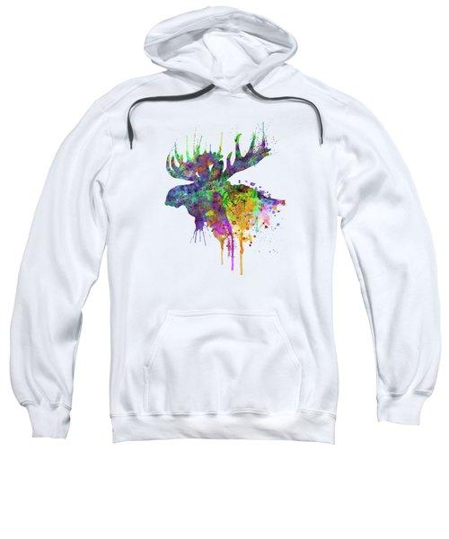 Moose Head Watercolor Silhouette Sweatshirt