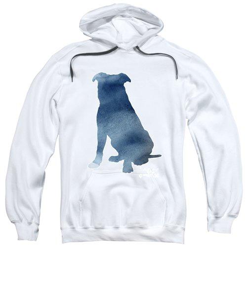 Navy Blue Pitbull Silhouette Sitting Facing Left  Sweatshirt