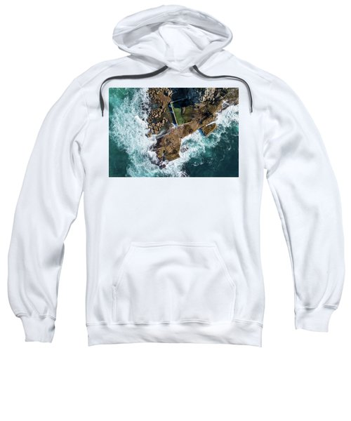 Sweatshirt featuring the pyrography North Curl Curl Pool by Chris Cousins