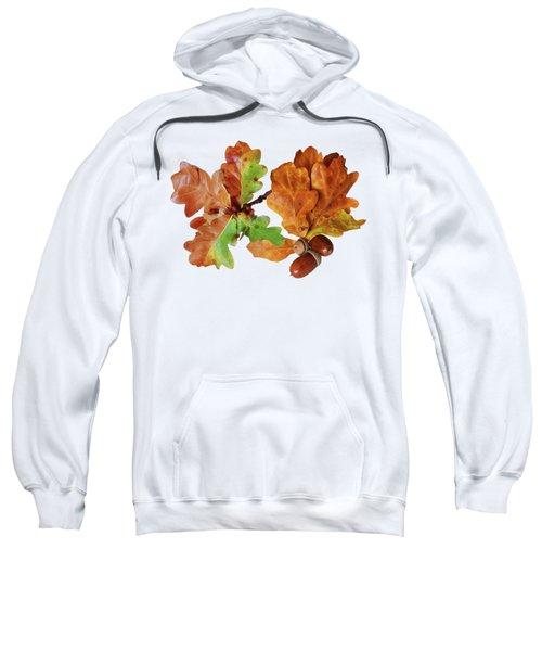 Oak Leaves And Acorns On White Sweatshirt