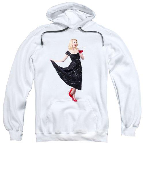 Party Woman In A Black Sequin Dress Sweatshirt