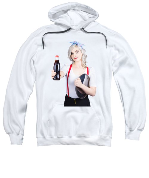 Pin-up Girl Holding Soft Drink Bottle Sweatshirt
