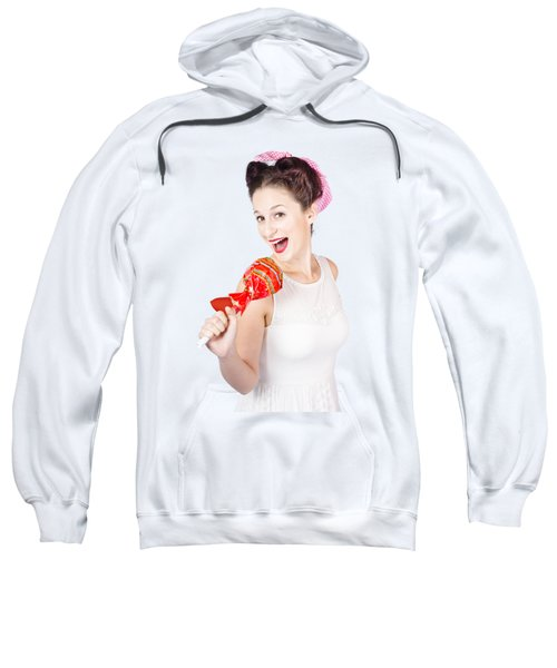 Pin-up Girl Singing Into Large Lollypop Microphone Sweatshirt
