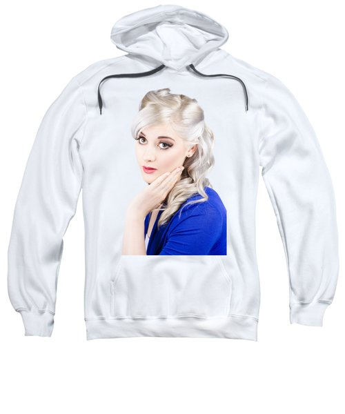 Sweatshirt featuring the photograph Pin Up Girl With Soft Clean Skin by Jorgo Photography - Wall Art Gallery