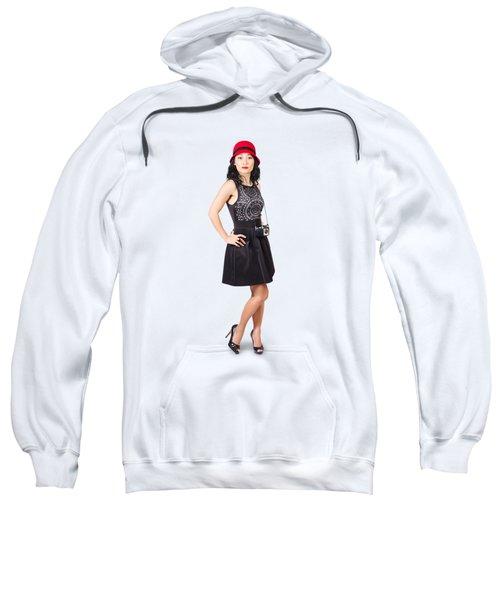 Pin Up Lady With Retro Film Camera Sweatshirt