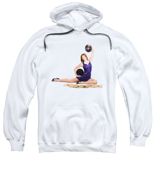 Sweatshirt featuring the photograph Pin-up Woman Balancing Sound With Record Music by Jorgo Photography - Wall Art Gallery