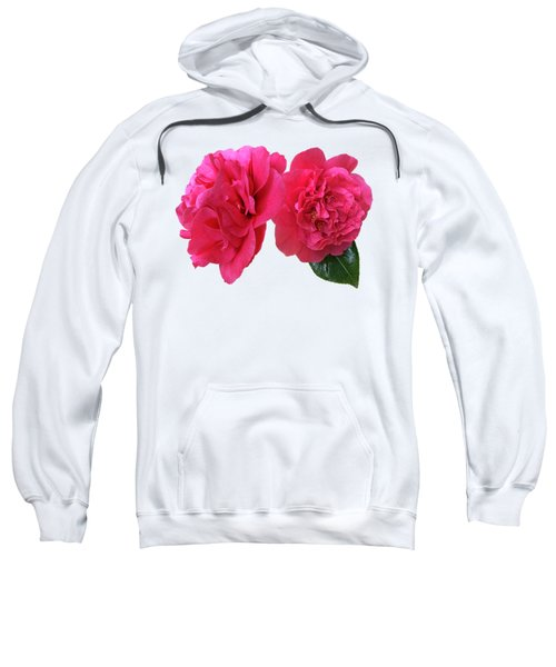 Pink Camellias On White Sweatshirt