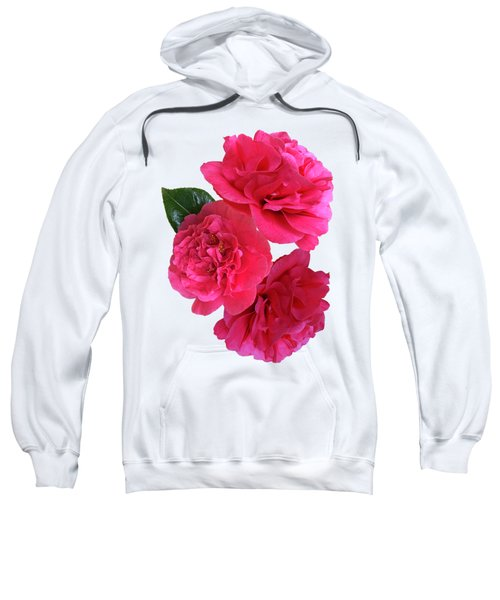 Pink Camellias On White Vertical Sweatshirt