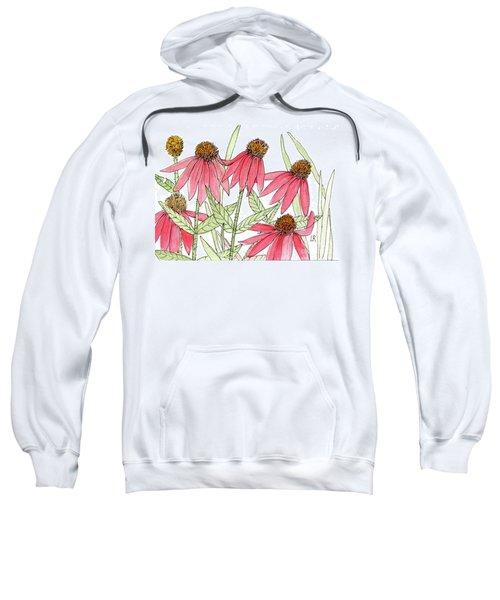Pink Coneflowers Gather Watercolor Sweatshirt