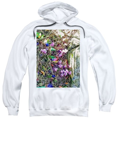 Pink Cyclamen With Fallen Damsons Sweatshirt
