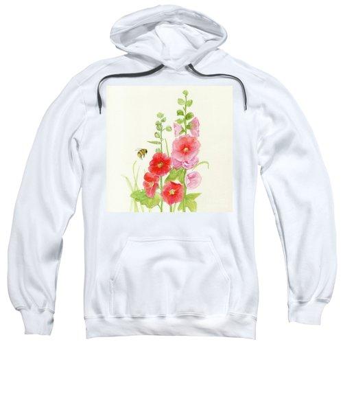 Pink Hollyhock Watercolor Sweatshirt