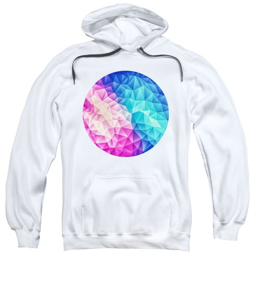 Pink Ice Blue  Abstract Polygon Crystal Cubism Low Poly Triangle Design Sweatshirt