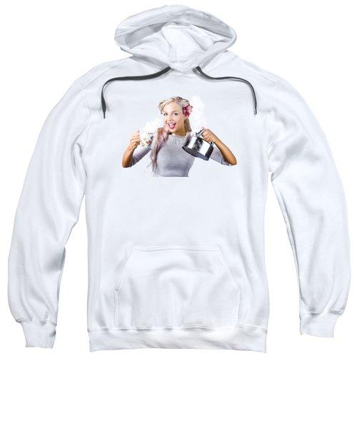 Pinup Girl Holding Kettle And Mug Sweatshirt