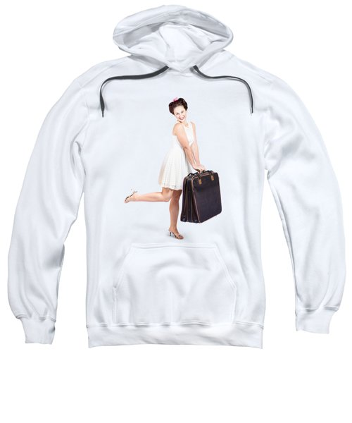 Pinup Model Doing A Hop And Skip With Travel Case Sweatshirt