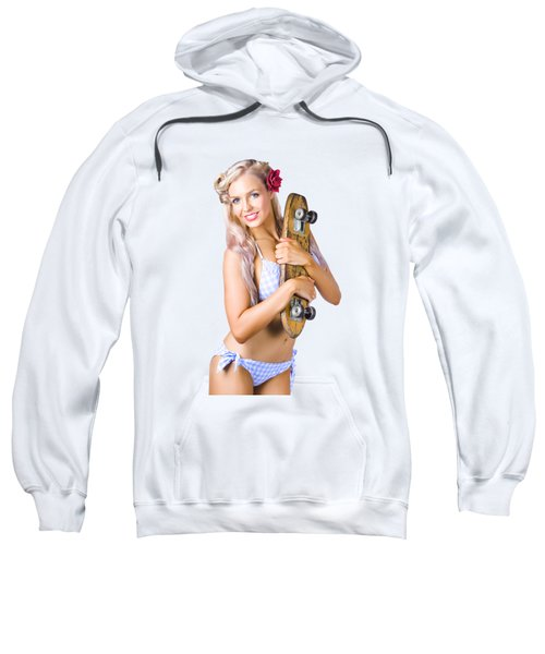 Pinup Woman In Bikini Holding Skateboard Sweatshirt