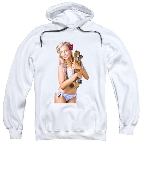 Pinup Woman In Bikini Holding Skateboard Sweatshirt