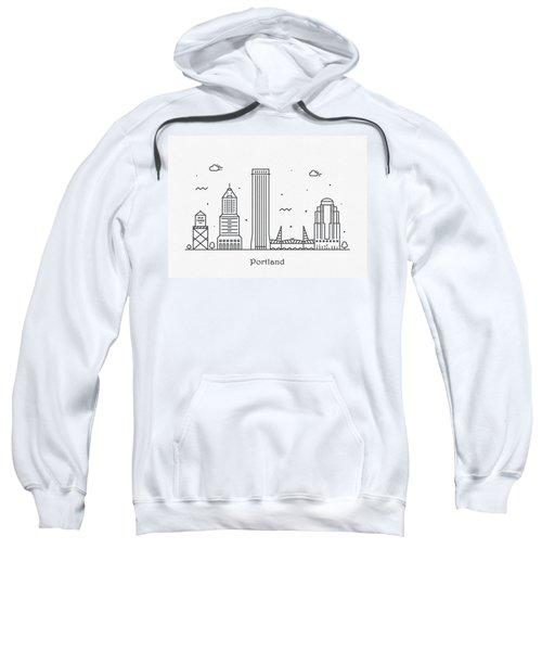 Portland Cityscape Travel Poster Sweatshirt