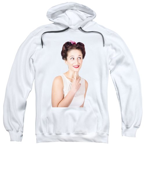 Portrait Of A Lovely Retro Woman With Clear Skin Sweatshirt