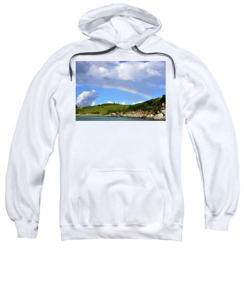 Rainbow Over Buck Island Lighthouse Sweatshirt