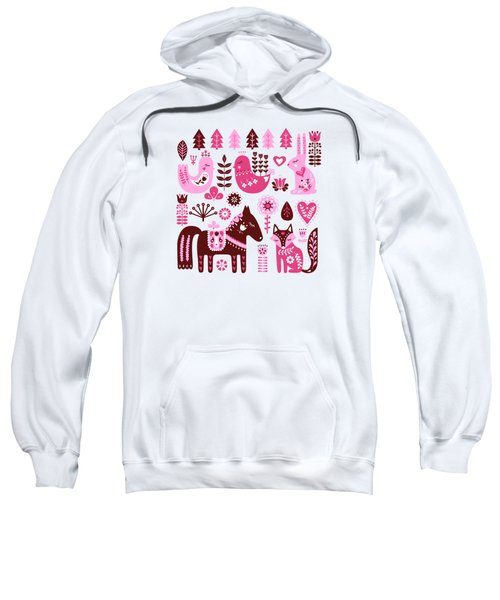 Raspberry And Cream Scandinavian Folk Art Forest Friends Sweatshirt