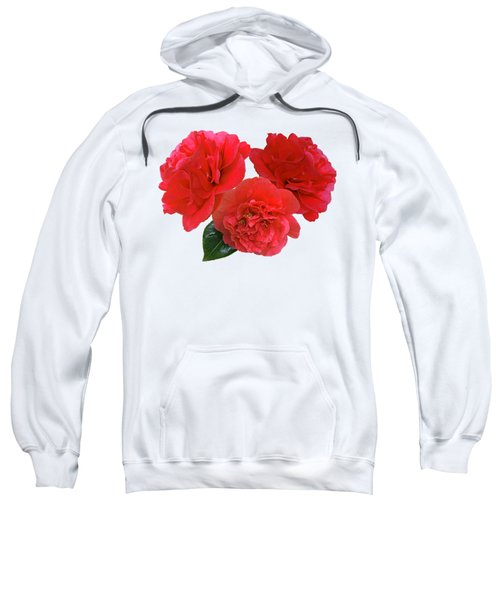 Red Camellias On White Sweatshirt