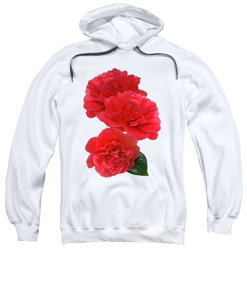 Red Camellias On White Vertical Sweatshirt