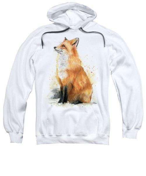 Red Fox Watercolor Pattern Sweatshirt