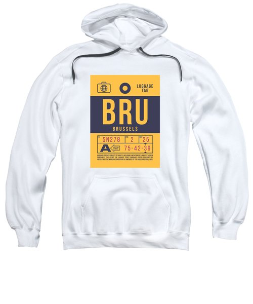 Retro Airline Luggage Tag 2.0 - Bru Brussels Belgium Sweatshirt