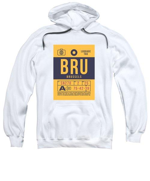 Retro Airline Luggage Tag 2.0 - Bru Brussels Belgium Sweatshirt