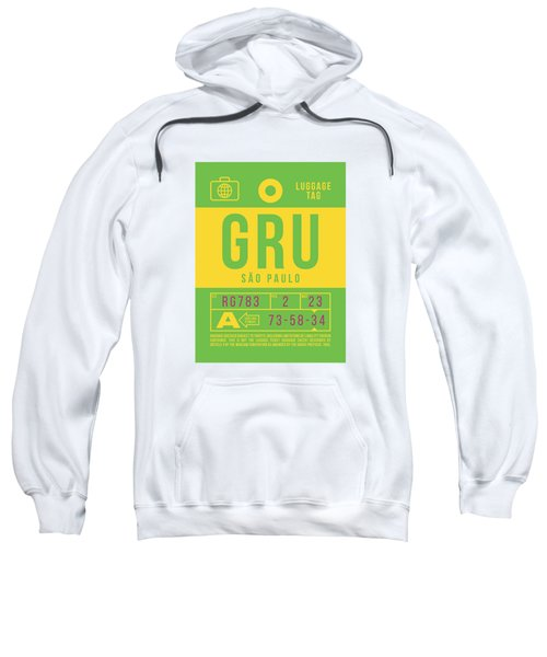 Retro Airline Luggage Tag 2.0 - Gru Sao Paulo Brazil Sweatshirt
