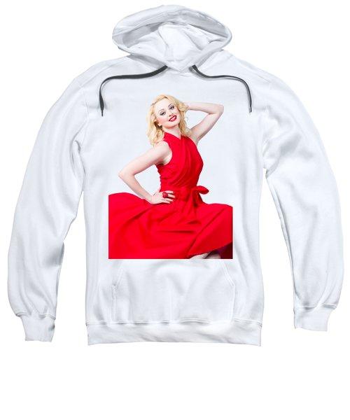 Retro Blond Pinup Woman Wearing A Red Dress Sweatshirt