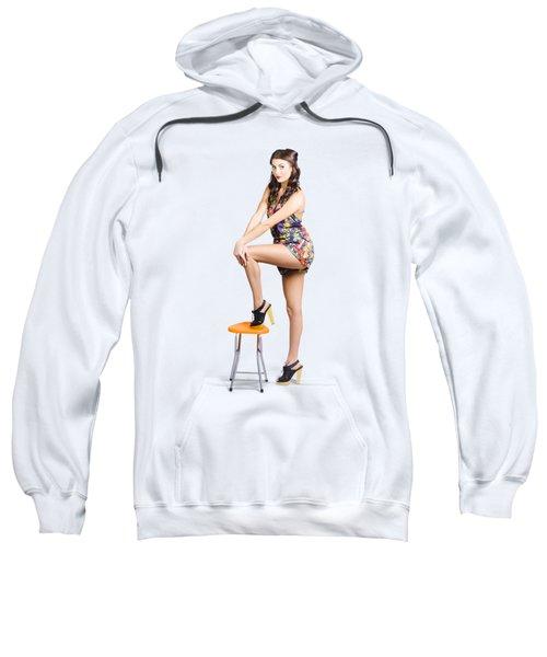Retro Pin-up Model Posing In Stylish Retro Fashion Sweatshirt