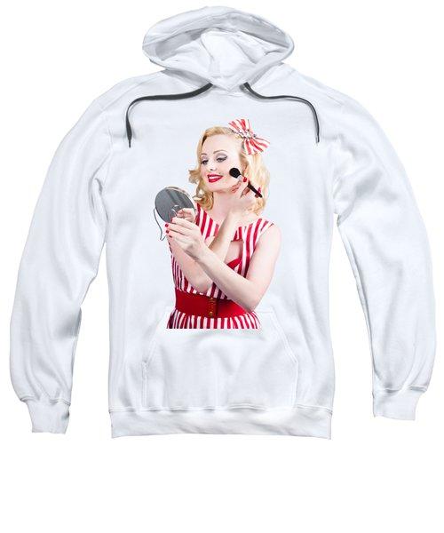 Retro Pin-up Woman Doing Beauty Make-up Sweatshirt