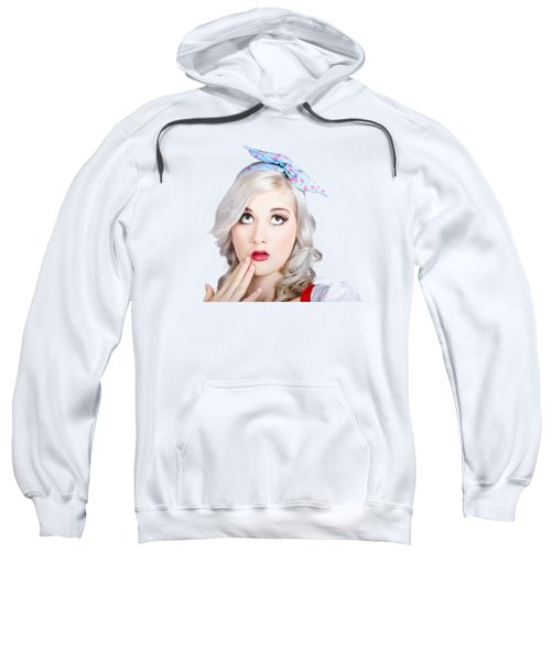 Retro Style Portrait Of A Blond Girl With A Bow Sweatshirt