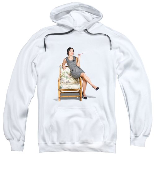 Retro Woman On Lounge Chair With Cigarette Holder Sweatshirt