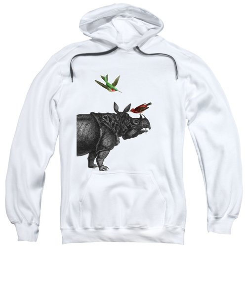 Rhinoceros With Birds Art Print Sweatshirt