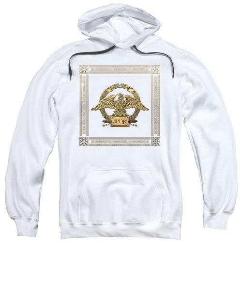 Roman Empire - Gold Roman Imperial Eagle Over White Velvet Sweatshirt