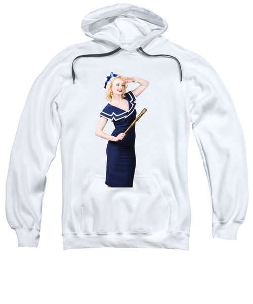 Sailor Girl Pin-up Looking Out To Sea Sweatshirt