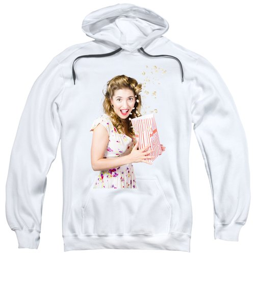 Shock Horror Pinup Girl Watching Scary Movie Sweatshirt