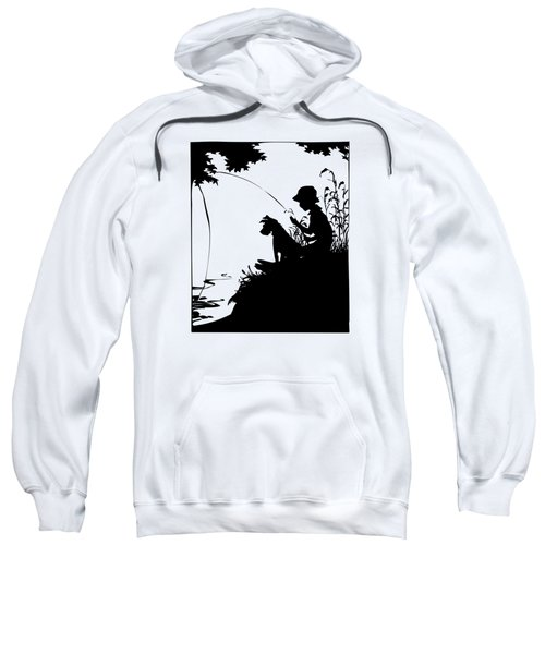 Silhouette Of A Boy Fishing With His Dog Sweatshirt