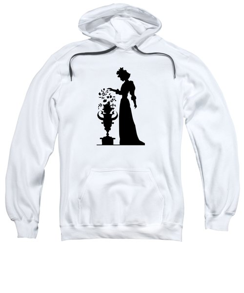 Silhouette Of A Victorian Woman And Flowers Sweatshirt