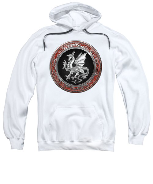Silver Winged Norse Dragon - Icelandic Viking Landvaettir On Black And Silver Medallion Over White L Sweatshirt