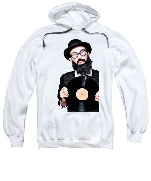Sixties Retro Rock Man Holding Music Record Vinyl Sweatshirt