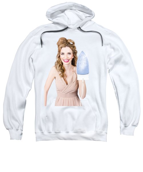 Smiling Woman With Iron. Hot Cleaning Specials Sweatshirt