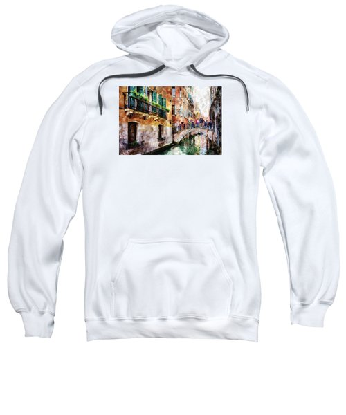 People On Bridge Over Canal In Venice, Italy - Watercolor Painting Effect Sweatshirt