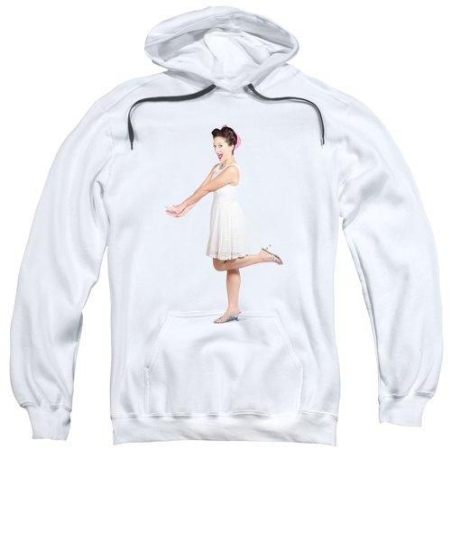 Surprised Housewife Kicking Up Leg In White Dress Sweatshirt