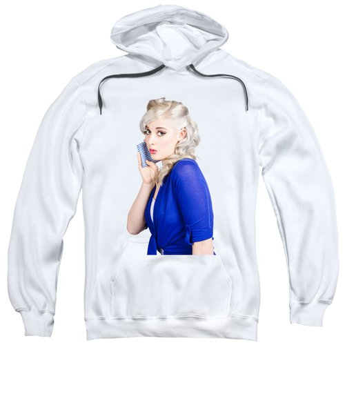 Surprised Pin Up Girl With Wash Cloth Sweatshirt