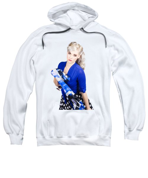 The Classic Pin-up Image. Girl In Retro Style Sweatshirt