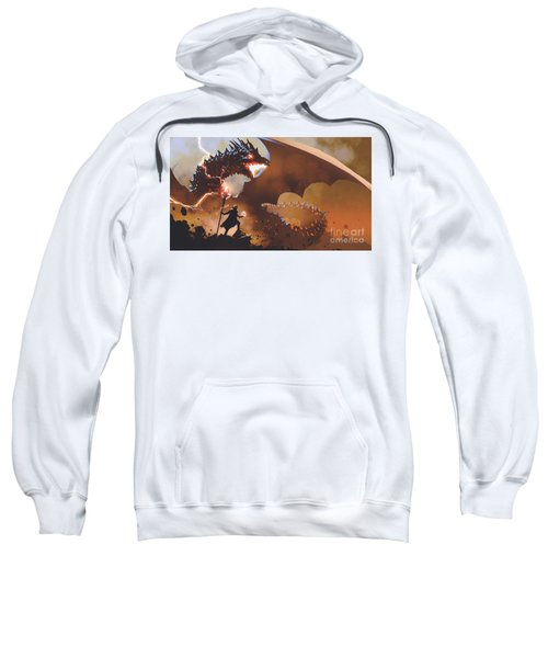 Sweatshirt featuring the painting The Dragon Wizard by Tithi Luadthong