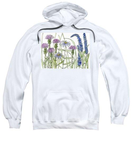 Thistle Asters Blue Flower Watercolor Wildflower Sweatshirt